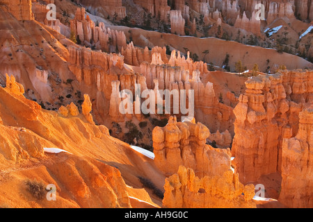 Glühende Hoodoo Formationen vom Rand des Bryce Canyon Bryce Canyon National Park, Utah - Stockfoto