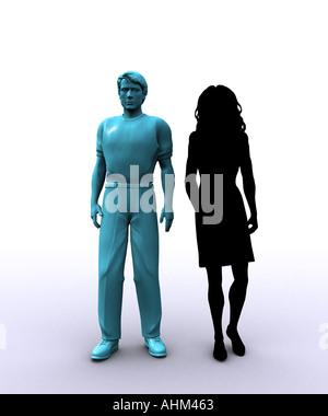 Mann mit Frau im Schatten - Stockfoto