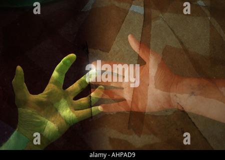 Hände greifen collage Technologiekonzept