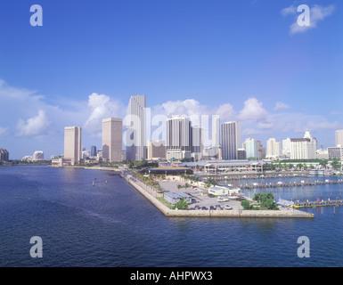 Skyline von Miami Beach Florida Bay - Stockfoto
