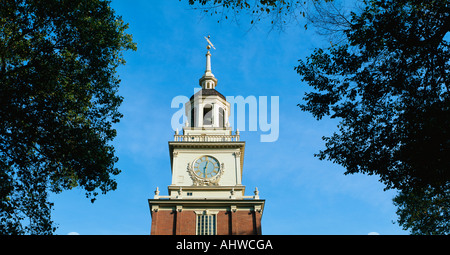 Dies ist der Anfang der historischen Independence Hall, dem Ort der Unterzeichnung der Unabhängigkeitserklärung - Stockfoto
