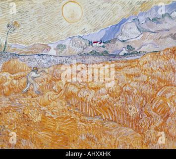 """""""Fine Arts, Gogh, Vincent van, (1853-1890), Malerei,""""die Ernte"""", 1889, Folkwang Museum Essen, historisch, historische, Eur"""