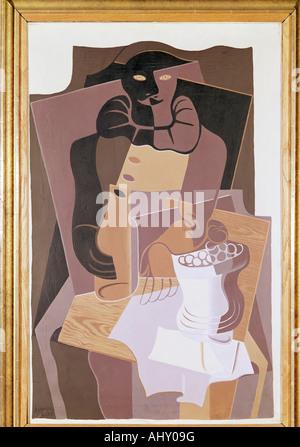 """""""Fine Arts, Gris, Juan (1887-1927), Malerei,""""Pierrot"""", 1922, Öl auf Leinwand, 100 x 64 cm, von der Heydt-Museum, - Stockfoto"""