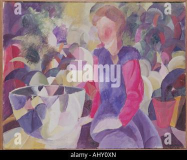 """""""Fine Arts, Macke, August (1887 – 1914), Malerei,""""Mädchen Mit Fischglas"""", (""""Mädchen mit Fish Bowl""""), 1914, Öl auf - Stockfoto"""