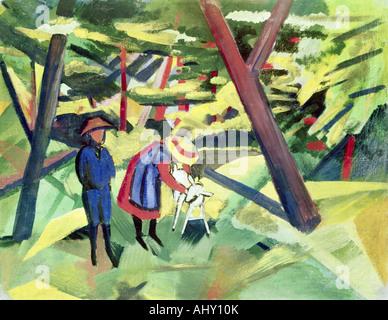 """""""Fine Arts, Macke, August (1887 – 1914), Malerei,""""Kinder Mit Ziege Im Wald"""", (""""Kinder mit Ziege im Wald""""), 1912, - Stockfoto"""