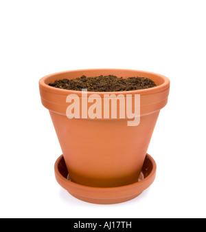 Ton Topf Blumentopf Blumentopf mit Blumenerde, Blumenerde, Kompost und Untertasse JAR - Stockfoto