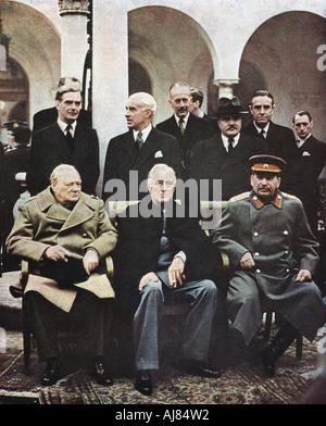 Jalta Konferenz der Alliierten Führer, Weltkrieg II, 4-11 Februar 1945. Artist: Unbekannt - Stockfoto