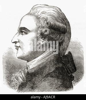 Jean-Pierre [François] Blanchard, 1753 - 1809. Der französische Erfinder, Pionier der Ballonfahrt. - Stockfoto