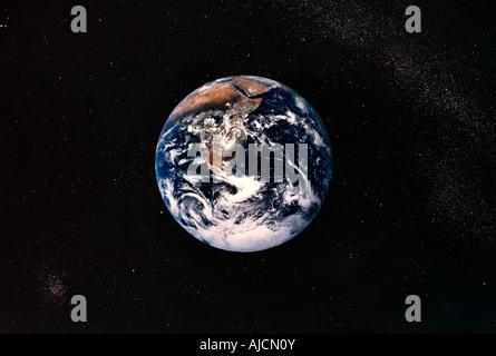 Erde aus dem Weltraum Afrika Planeten kreisen um Rundschreiben - Stockfoto