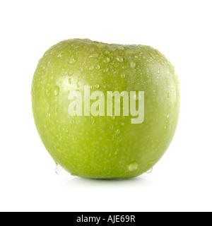 Grünen Granny Smith Apfel mit Wassertropfen drüber laufen - Stockfoto