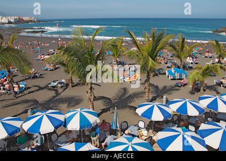 Playa Jardin Strand, Puerto De La Cruz, Teneriffa, Kanarische Inseln, Spanien. - Stockfoto