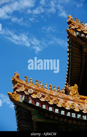 Detail eines Daches in der verbotenen Stadt Peking China