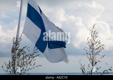 Finnische Flagge fliegt von der Fähre im finnischen Turku Archipel die Birke Zweige sind eine Ergänzung für Mittsommer - Stockfoto