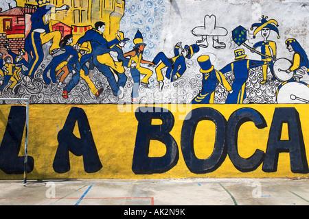 """""""Murga"""" Malerei Detailansicht am Fußballplatz. """"La Boca"""" Stadt, Buenos Aires, Argentinien. - Stockfoto"""