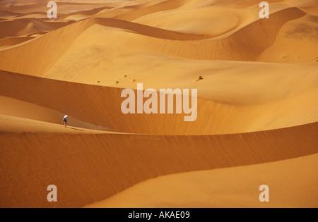 Frau, Wandern im Namib Naukluft Park Namib Wüste, Sossusvlei Namibia - Stockfoto