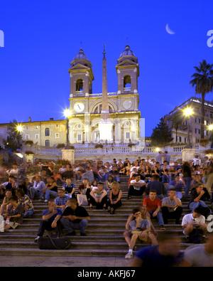 IT - Rom: Piazza di Spagna in der Nacht - Stockfoto