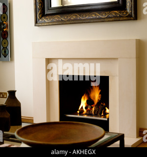 glas kamin angez ndet mit einem feuer in der mitte eines raumes stockfoto bild 41372795 alamy. Black Bedroom Furniture Sets. Home Design Ideas