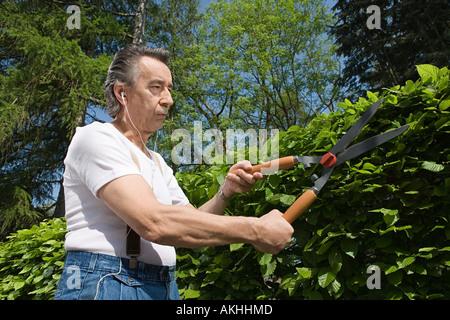 Mann trimmen Hecken- und Musik hören - Stockfoto