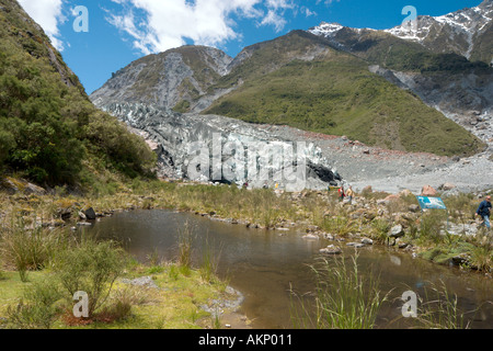 Das Terminal (Fuß) von Fox Glacier, Südinsel, Neuseeland - Stockfoto