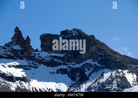 Schnee unter Gipfel Point Lenana (4985 m) Mount Kenya National Park Kenia - Stockfoto