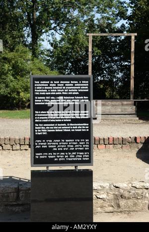 Die Website, wo ehemalige Kommandant von Auschwitz, Rudolf Hoss gehängt wurde 1947 in Auschwitz I, Oswiecim, Polen. - Stockfoto