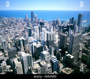 Die Innenstadt von Ansicht von Sears Towers, Chicago Illinois - Stockfoto