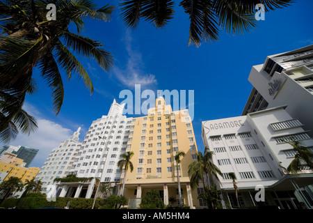 Miami Art-déco-Architektur des Hotels - Ritz Plaza, das Delano, National, Sagamore, Di Lido - Collins Avenue South - Stockfoto