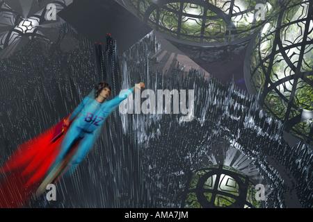 Super Geschäftsfrau über eine futuristische Stadt zu fliegen. - Stockfoto