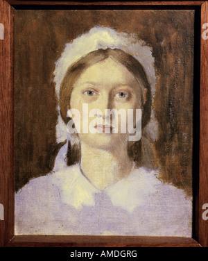"""""""Fine Arts, Degas, Edgar (1834-1917), Malerei,""""Studie für das Porträt von Marguerite De Gas', ca. 1858, Öl auf Leinwand, Pa"""