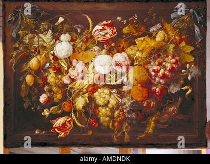 """Bildende Kunst, HEEM, Jan Davidsz de, (1606 - 26.4.1683), Malerei,' Girlande mit Blumen und Früchte"""", aus dem 17. - Stockfoto"""