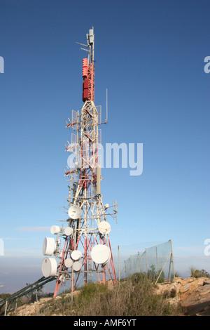 Kommunikation-Mast auf Sierra Helada - Stockfoto