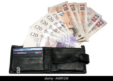 Schwarze Leder-Portemonnaie verschütten Papiergeld - Stockfoto