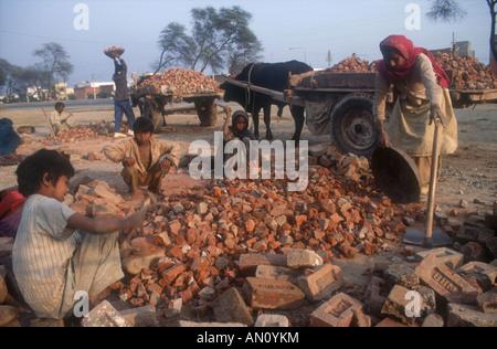 Familiengruppe bei der Arbeit mit Hammer, um Ziegel für Straße ausbessern zu brechen. Indien - Stockfoto