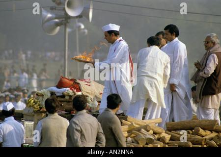 Beerdigung von Premierministerin Indira Gandhi in Neu-Delhi im Oktober 1984.Photo von Jayne Fincher - Stockfoto