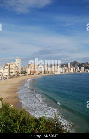 Playa de Levante vom Placa de Castelar, Old Town, Benidorm, Costa Blanca, Provinz Alicante, Spanien - Stockfoto