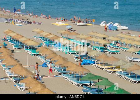Torremolinos Costa del Sol Spanien Bajondillo Strand - Stockfoto