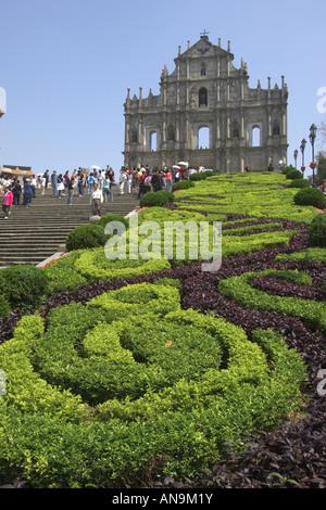 Fassade der Kathedrale von St. Pauls, Macau, China - Stockfoto
