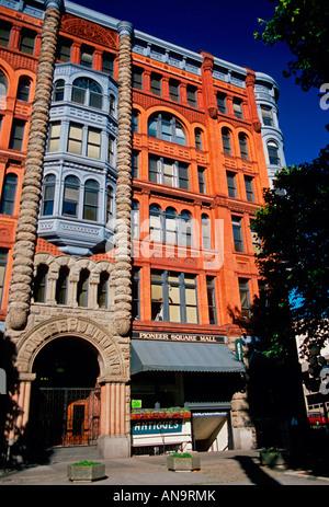 Pioneer, Pioneer Square, rotes Backsteingebäude, Ziegelbau, Seattle, Washington, Washington State, USA, Nordamerika - Stockfoto