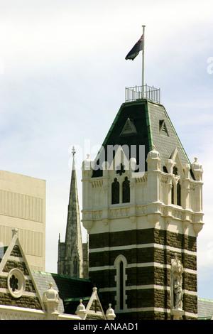 Railway Station Tower Dunedin Otago Neuseeland - Stockfoto