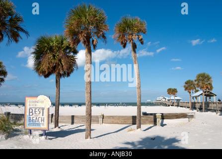 Pier 60 und bester Strand Zeichen, Clearwater Beach, Golfküste, Florida, USA - Stockfoto