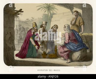 Anbetung der Heiligen drei Könige - Stockfoto