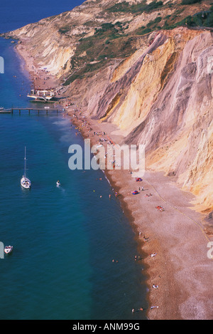 Multi farbige Klippen von Alum Bay auf der Isle Of Wight-England - Stockfoto
