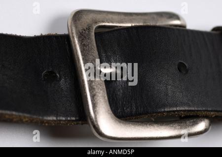 Schwarzes Leder Gürtelschnalle - Stockfoto