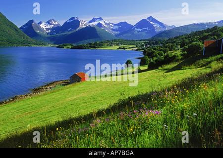 Fjord, Ackerland und Bergen am Straumgjerde in Møre Og Romsdal Fläche von Norwegen - Stockfoto