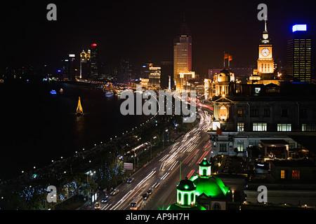 Der Bund in shanghai bei Nacht - Stockfoto