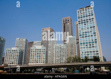 Villen und Gebäude im Bezirk Chaoyang Szene von Peking - Stockfoto