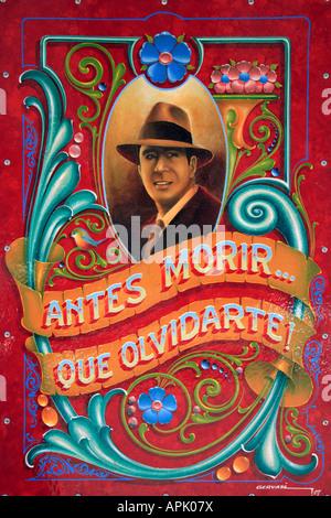 """""""Carlos Gardel"""" Detailansicht am Schriftzug """"Filete Porteño"""" Stil, Abasto Nachbarschaft, Buenos Aires, Argentinien. - Stockfoto"""
