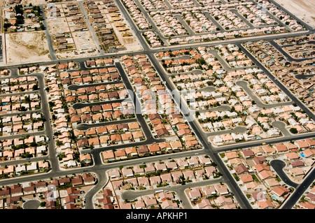 Luftaufnahme des städtischen Wachstums und Zersiedelung in Las Vegas Nevada NV - Stockfoto