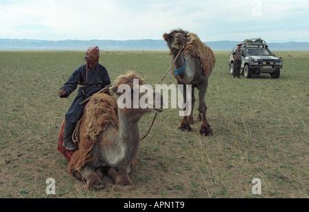 Mongolische Frau Reiten auf Kamel und Geländewagen. Boorog Deliin Els Wüste. UVs-Aimag. Mongolei - Stockfoto