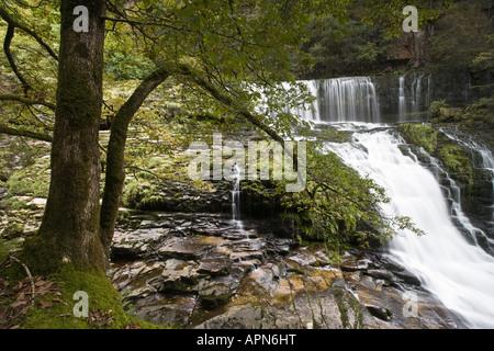 Clyn Gwyn Wasserfälle Geologie Brecon Beacons National Park Powys Wales